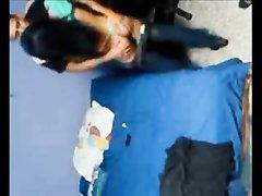 Строптивая брюнетка с маленькими сиськами в любительском видео отдалась другу