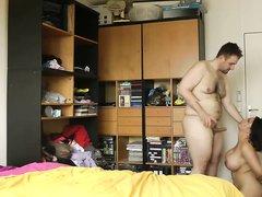 Азиатка с большими сиськами трахается с любовником и сосёт белый член